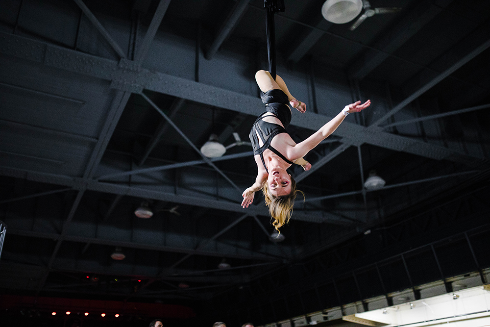 Aerialist Brittany Webb performs aerial hammock at the show.