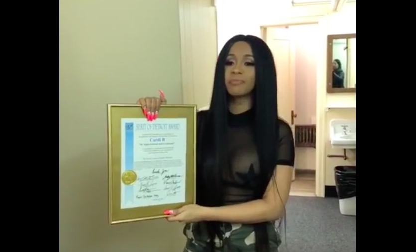 4876eb96fb4 One year ago, Cardi B was given a Spirit of Detroit award. What has changed  since then?